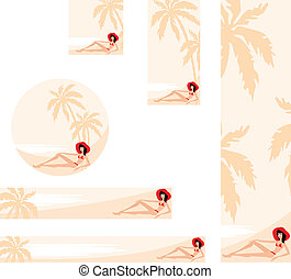 Banner with palm trees and woman - Vector illustration,...