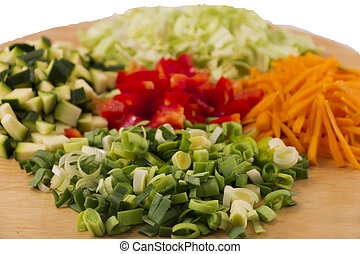 Close-up of 5 fresh vegetables, viv - Tasty and fresh...