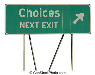 Green road sign choices