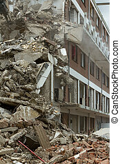 The demolition of a block of flats