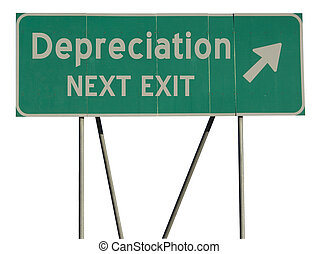 Green road sign depreciation - Isolated green road sign on a...