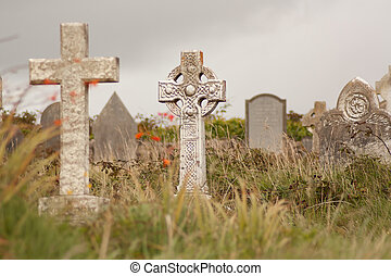 An Irish graveyard  - A gravestone on a Irish graveyard