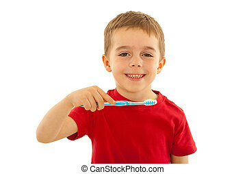 Happy kid with toothbrush