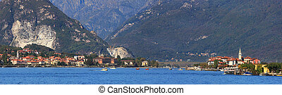 Lake Maggiore. Panorama. - Panoramic view on famous Lake...