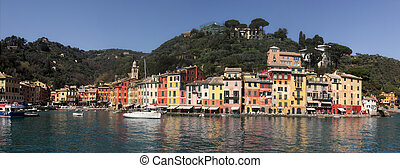 Panorama of Portofino - Panoramic view on bay and Portofino...