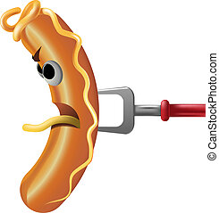 sausage - vector cartoon sausage on fork isolated on white
