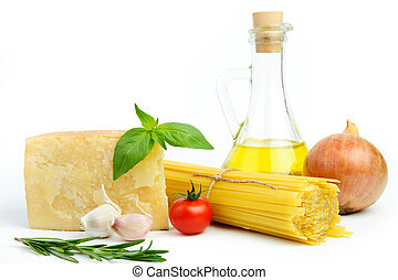 Ingredients for Italian pasta - Healthy ingredients in...