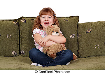 happy little girl with teddy-bear