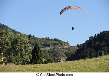 Glider - An image of a glider flying on a parachute