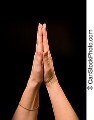 little prayer - hands together symbolizing prayer and...