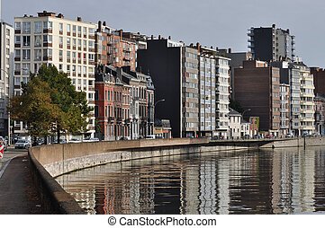 The Meuse at Liege - The Meuse river flowing through Liege,...