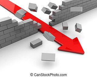 breaking boundary - 3d illustration of breaking boundary red...