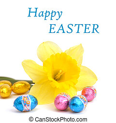 Easter card - An image of Easter card with daffodil and eggs
