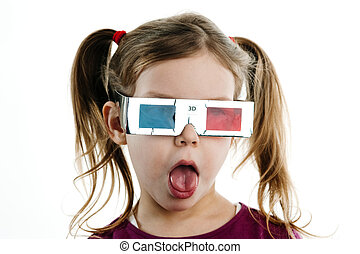 3D child - Humorous image of excited child in 3-D glasses...