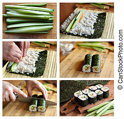 Cooking sushi - An image of a set of photos about cooking...