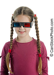Little girl with 3-D glasses - An image of a girl with 3-D...