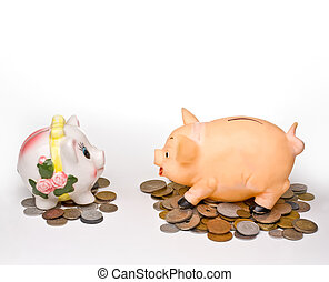 conversation of two piggy banks on a light background