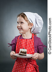 Girl with a cake - An image of a girl in a white hat with a...