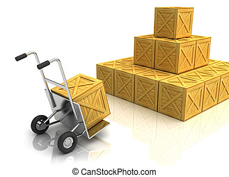 warehouse - 3d illustration of truck with crates, warehouse...