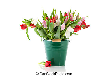Green vase tulips - Green vase with big bouquet colorful...