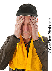 Elderly sport man - Senior sport man with cap and towel...