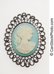 antique cameo brooch - antique cameo silver brooch