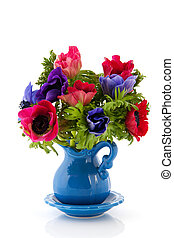 Bouquet Anemones in blue and red isolated over white...