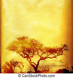Grunge African background with tree. - Textured grunge...