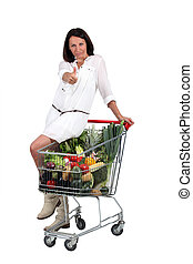 woman with supermarket trolley