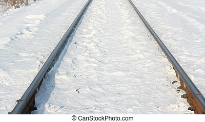 Winter landscape along the railway line with lots of fresh...