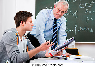 teacher with high school students