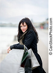 Woman enjoying shopping trip