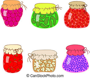 Jars with preserves homemade vegetables and jam. - vector...