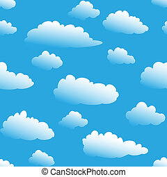 Seamless fluffy cloudy background - fluffy cloudy cartoon...