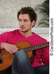 jovem, Menino, tocando, Guitarra