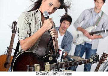 joven, roca, banda