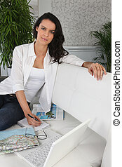 Woman planning her next holiday