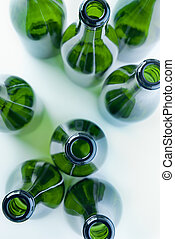 green bottles of glass above view