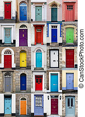 Vertical photo collage of 25 front doors - A photo collage...