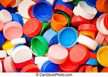 screw caps background - recyclable colorful plastic screw...