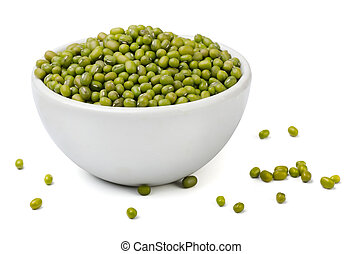 Mung beans - Green mung beans in white bowl isolated on...