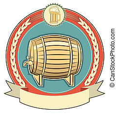 Barrel of beer label set on white background