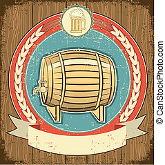Barrel of beer label set on old paper texture.Grunge...