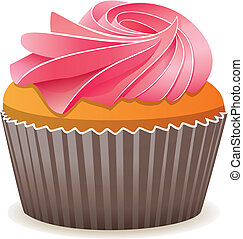 vector cupcake with pink cream