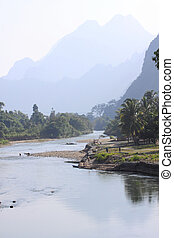 River song landscape, Laos - River song landscape in Vang...