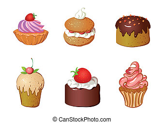 set of cakes - vector set of cakes and dessert, biscuit