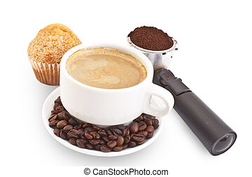 Caffe breakfast - Breakfast of caffe with muffin isolated in...