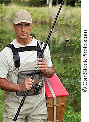 Fisherman in waders