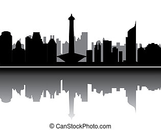 jakarta skyline with monument offices and buildings