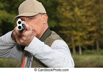 caçador, olhar, BAIXO, barril, arma